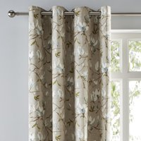 Magnolia Green Eyelet Curtains Brown, Green and White