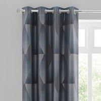 Belfast Geometric Jacquard Slate Eyelet Curtains Grey