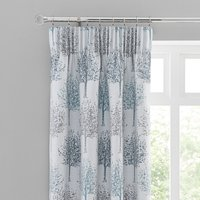 Jacquard Trees Teal Pencil Pleat Curtains Teal (Blue)