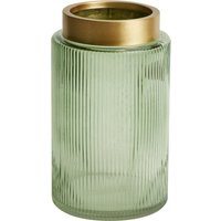 image-Green and Gold Ribbed Glass Vase Green