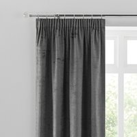 Ruben Grey Velour Pencil Pleat Curtains Grey