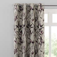 Zen Plum Jacquard Eyelet Curtains Beige, Grey and Purple