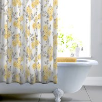 image-Ashbourne Ochre Floral Shower Curtain Grey, White and Yellow