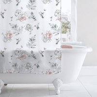 Heavenly Hummingbird Blush Shower Curtain White, Pink and Green