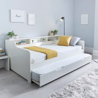 Tyler Single Guest Bed with Trundle and Memory Foam Mattress - White White