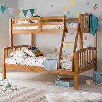image-Mya Triple Sleeper with Memory Foam mattress - Pine Brown