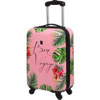 Bon Voyage Leaf Print 4 Wheel Cabin Case Pink and Green