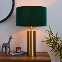 image-Nesa Brushed Gold and Green Velvet Touch Table Lamp Gold and Green