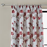 Ellis Floral Jacquard Red Pencil Pleat Curtains Red and Grey