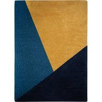 Colour Block Wool Rug Black, Yellow and Blue