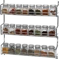 Hahn Metro Clip Top 3 Tier Wall or Cupboard Spice Rack with 24 Jars Silver
