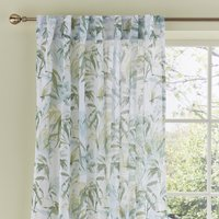 Tropical Leaf Green Hidden Tab Top Single Curtain Panel Green and White