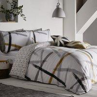 image-Appletree Leda Abstract Print Reversible 100% Cotton Duvet Cover and Pillowcase Set Grey