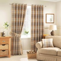 Highland Check Ochre Eyelet Curtains Brown, Yellow and Black