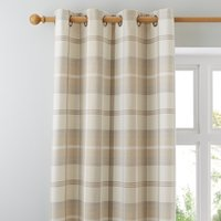 Highland Check Natural Eyelet Curtains Brown, Beige and White