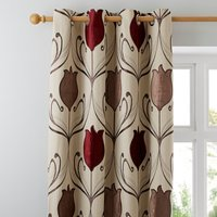 Lalique Wine Eyelet Curtains Red and Brown