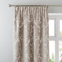 Versailles Natural Pencil Pleat Curtains Brown and White