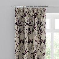 Zen Jacquard Plum Pencil Pleat Curtains Grey and Purple