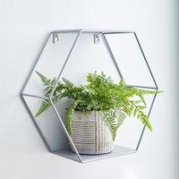 Hexagonal Grey Wall Shelf Grey