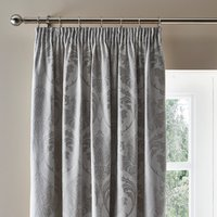 Zahra Silver Jacquard Pencil Pleat Curtains Silver