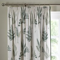 Fern Green Pencil Pleat Curtains White and Green