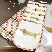 Ulster Weavers Hot Dog Sausage Dog Double Oven Glove Off White, Brown and Green