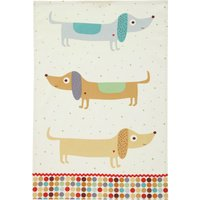 Ulster Weavers Hot Dog Sausage Dog Cotton Tea Towel White, Brown and Blue