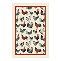 Ulster Weavers Rooster Cotton Tea Towel Off White, Blue and Red