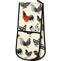 Ulster Weavers Rooster Double Oven Glove Off White, Blue and Red