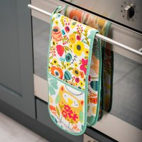 Ulster Weavers Twit Twoo Double Oven Glove White, Green and Yellow