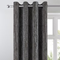 Pleated Velvet Charcoal Eyelet Curtains Charcoal and White