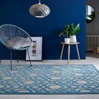 Oro Geometric Rug Beige and Blue