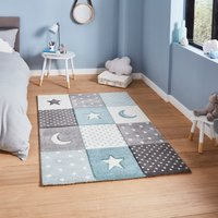 Blue Moons and Stars Dot Rug Blue
