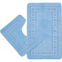 Catherine Lansfield Armoni Blue Bath and Pedestal Mat Set Blue