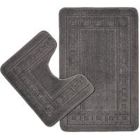 Catherine Lansfield Armoni Grey Bath and Pedestal Mat Set Grey