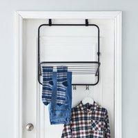 1 Tier Over Door Indoor Clothes Airer Black