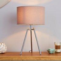 image-Nora Tripod Table Lamp  Chrome Grey