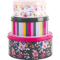 Gardenia Trio of Nesting Cake Tins Pink, Yellow and Grey