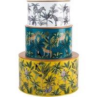 Madagascar Trio of Nesting Cake Tins White, Blue and Yellow