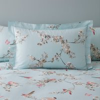 Beautiful Birds Duck-Egg Oxford Pillowcase Blue, Pink and White