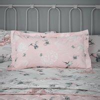 Heavenly Hummingbird Blush Oxford Pillowcase Pink, Green and White