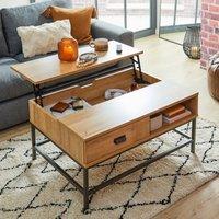 image-Fulton Oak Effect Lift Up Coffee Table Oak (Brown)