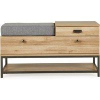 Fulton Oak Effect Storage Bench Brown and Grey