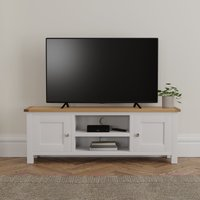 image-Bromley White Wide TV Stand Blue