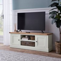 image-Compton Ivory Wide TV Stand with Baskets Ivory