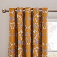 Dorma Addinston Ochre Blackout Eyelet Curtains Yellow, Grey and White