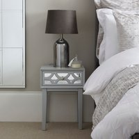 image-Delphi Mirrored 1 Drawer Bedside Grey Grey