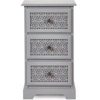 image-Carys 3 Drawer Bedside Table Grey