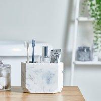 image-Marble Resin Toothbrush Holder White