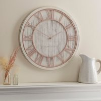image-Blush and White Wooden Wall Clock White
